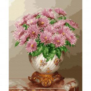Розовые астры. Бузин Картина по номерам на дереве KD0715
