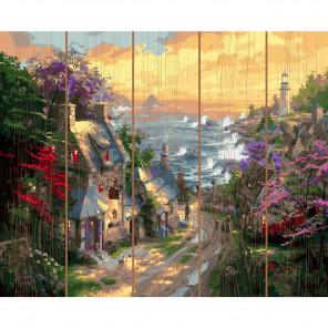 Деревня у берега моря Картина по номерам на дереве KD0724
