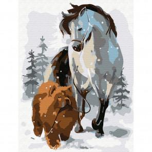 Лошадь с собакой на прогулке Раскраска по номерам на холсте Molly KH0792