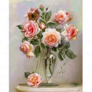 Розы в вазе. Бузин Раскраска по номерам на холсте Molly KH0803