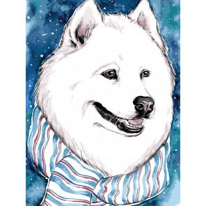 Белый друг Раскраска картина по номерам на холсте ME1111