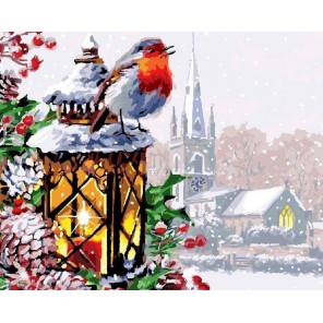 Снегирь в зимний вечер Раскраска картина по номерам Z-GX3462