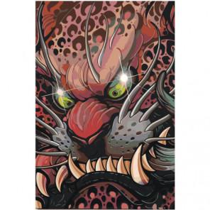 Японская маска дракона 80х120 Раскраска картина по номерам на холсте