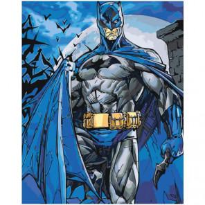 Бэтмен в синем плаще 80х100 Раскраска картина по номерам на холсте