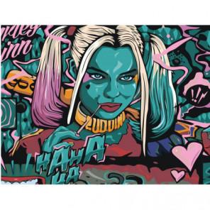 Харли Квин с битой 75х100 Раскраска картина по номерам на холсте