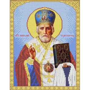 Святой Николай Чудотворец Набор для вышивки бисером Каролинка КБИН(Ч) 3025
