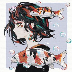 Прогулка под водой. Девушка аниме Раскраска картина по номерам на холсте AAAA-RS015-100x100
