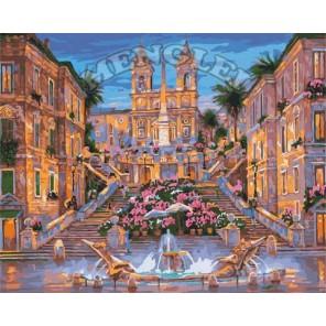 Испанская лестница в Риме Раскраска по номерам акриловыми красками на холсте Menglei