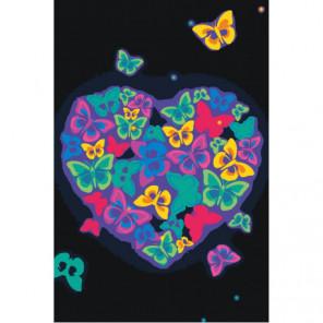 Сердце из неоновых бабочек 80х120 Раскраска картина по номерам на холсте