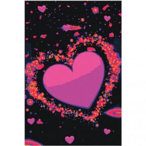 Сердце яркими неоновыми красками 80х120 Раскраска картина по номерам на холсте