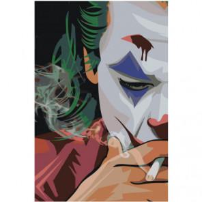 Джокер в сигаретном дыму 100х150 Раскраска картина по номерам на холсте