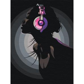 Девушка в ярких наушниках Раскраска картина по номерам на холсте с неоновыми красками AAAA-RS011