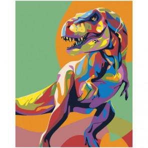 Радужный динозавр 100х125 Раскраска картина по номерам на холсте