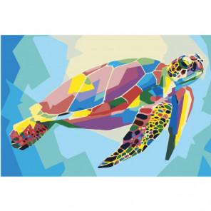 Радужная черепаха 80х120 Раскраска картина по номерам на холсте