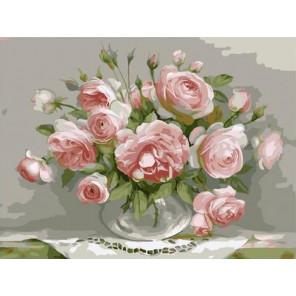 Розы в стеклянной вазочке Раскраска картина по номерам на холсте PKC76026