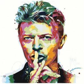 Радужный Дэвид Боуи 100х100 Раскраска картина по номерам на холсте
