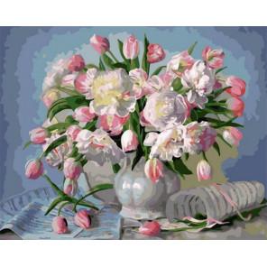 Розовые тюльпаны в вазе Раскраска картина по номерам на холсте GX34922