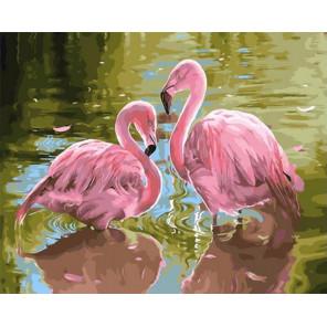 Два розовых фламинго Раскраска картина по номерам на холсте GX33694