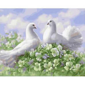 Свадебные голуби на букете Раскраска картина по номерам на холсте GX31669