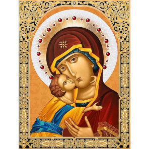 Икона Владимирская Богородица Набор для выкладывания алмазной мозаики АЖ-1844