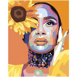 Девушка с желтым цветком Раскраска картина по номерам на холсте