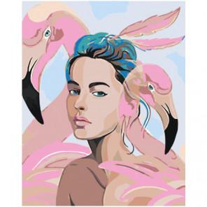 Девушка и розовые фламинго 100х125 Раскраска картина по номерам на холсте