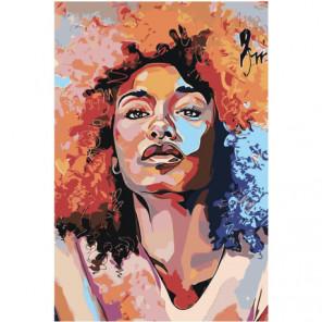 Девушка афро арт 100х150 Раскраска картина по номерам на холсте