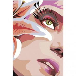 Девушка и лилия 100х150 Раскраска картина по номерам на холсте