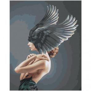 Девушка с темными крыльями на голове Раскраска картина по номерам на холсте
