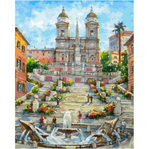 Рим. Испанская лестница Раскраска картина по номерам на холсте 269-AB