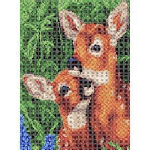 Мамы и их зверята. Пятнистые олени Габардин с рисунком для вышивки бисером или крестом Каролинка ТКБЖ 4041