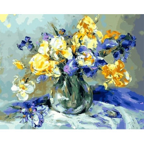 Желтые и синие ирисы Раскраска картина по номерам на холсте GX25571