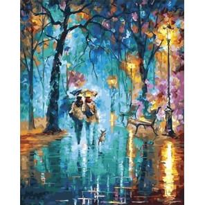 Сложность и количество цветов В вечернем парке под дождем Раскраска картина по номерам на холсте GX28802