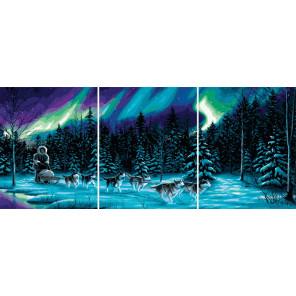 Северное сияние Триптих Раскраска картина по номерам на холсте РХ5289