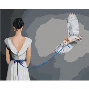 Девушка и сова 80х100 Раскраска картина по номерам на холсте