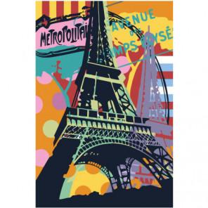 Красочная Эйфелева башня Париж Раскраска картина по номерам на холсте