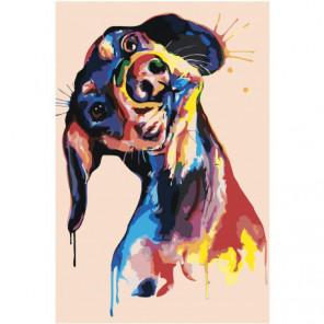 Радужная собака поп-арт Раскраска картина по номерам на холсте