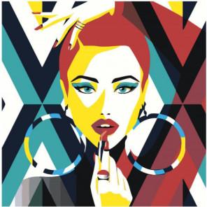 Красочная девушка с помадой поп-арт Раскраска картина по номерам на холсте