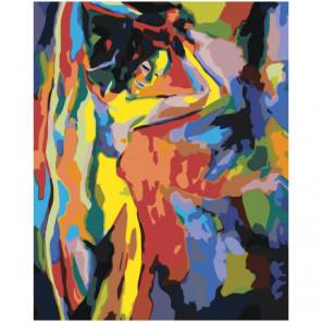 Фигура красочной обнаженной девушки Раскраска картина по номерам на холсте