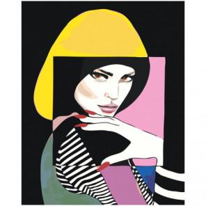 Портрет девушки абстракция Раскраска картина по номерам на холсте