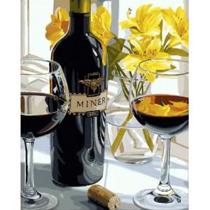 Вино и лилии Раскраска картина по номерам на холсте МСА465
