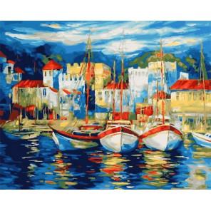 Яхты на причале Раскраска картина по номерам на холсте МСА224