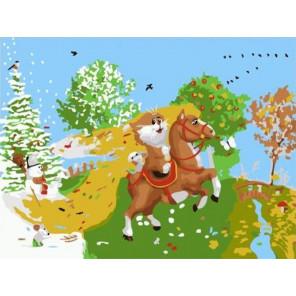 На коне Раскраска картина по номерам на холсте PKD76051