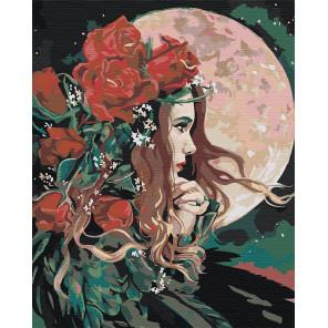 Пример в интерьере Девушка и луна Раскраска картина по номерам на холсте AAAA-RS034-100x125