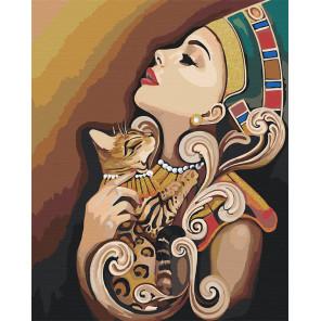 Египет. Девушка и кошка Раскраска картина по номерам на холсте с металлическими красками AAAA-RS056-80x100