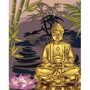 Пример в интерьере Золотой будда Раскраска картина по номерам на холсте с металлическими красками AAAA-RS057-80x100