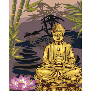 Пример в интерьере Золотой будда Раскраска картина по номерам на холсте с металлическими красками AAAA-RS057-100x125