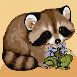Енотик с цветком Раскраска картина по номерам на холсте KH0912