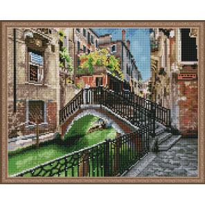 Пример выложенной мозаики Венецианский канал Алмазная мозаика вышивка на подрамнике Molly KM0843