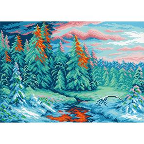 Зимний закат Канва с рисунком для вышивки МП Студия СК-021